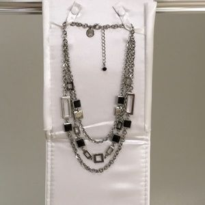 WHBM Silver w Black accent three tiered necklace